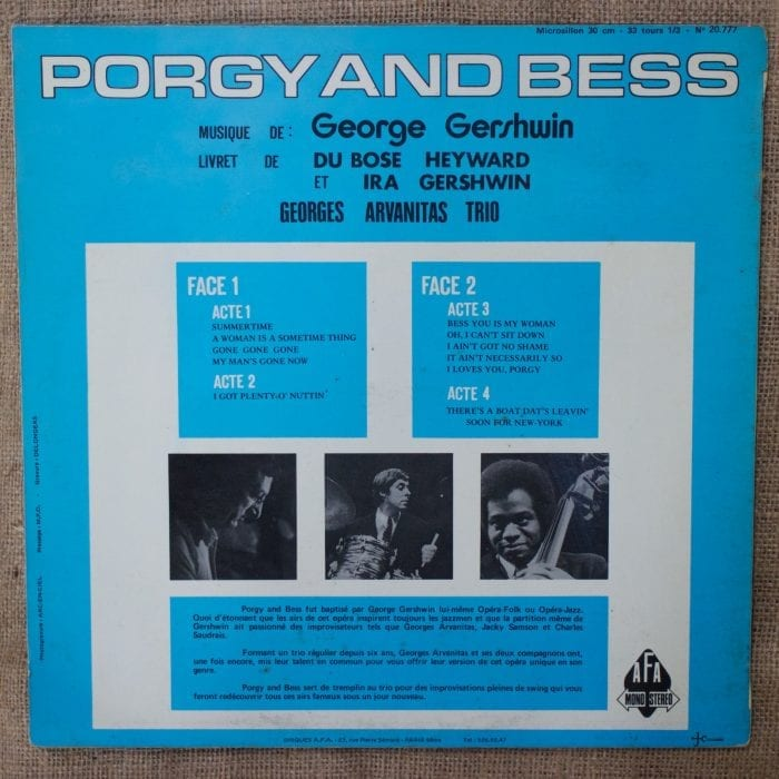 Porgy and Bess George Gershwin jazz LP for sale